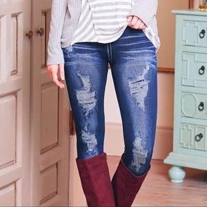 Distressed Skinny Jean Look Leggings
